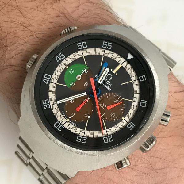 Omega Flightmaster Vintage watch wrist shot