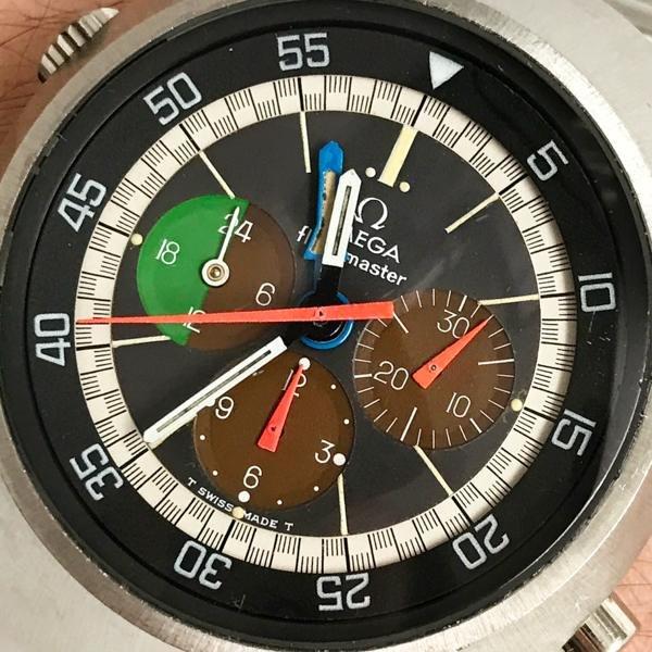 Flightmaster Omega blue hand open dial