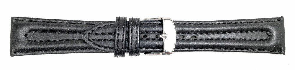 13379 - Black Biker Style Genuine Leather Strap -