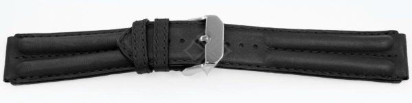 14618 - Black Double Ridged Watch Strap