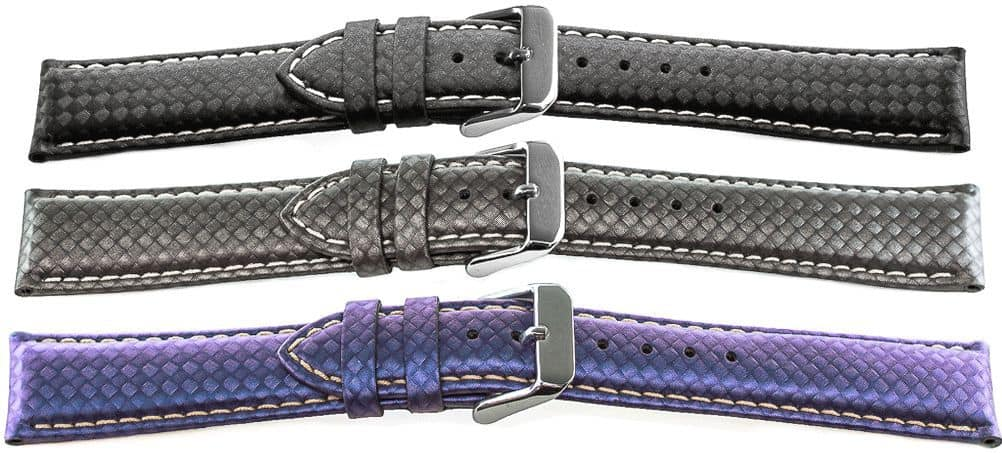 14649 - Carbon Fiber Watch Bands in black, gray, blue