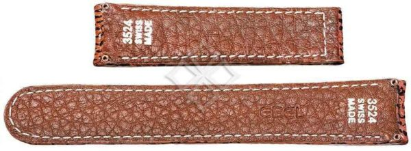 20mm brown shark skin strap for Ebel 1911, Discovery and Voyager - 3524 Swiss Made - screw attachements