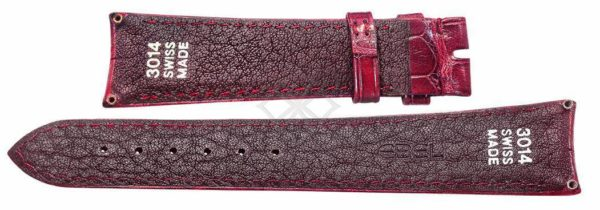 20mm burgundy crocodile skin strap for Ebel sport classic - 3014 Swiss Made - EB727