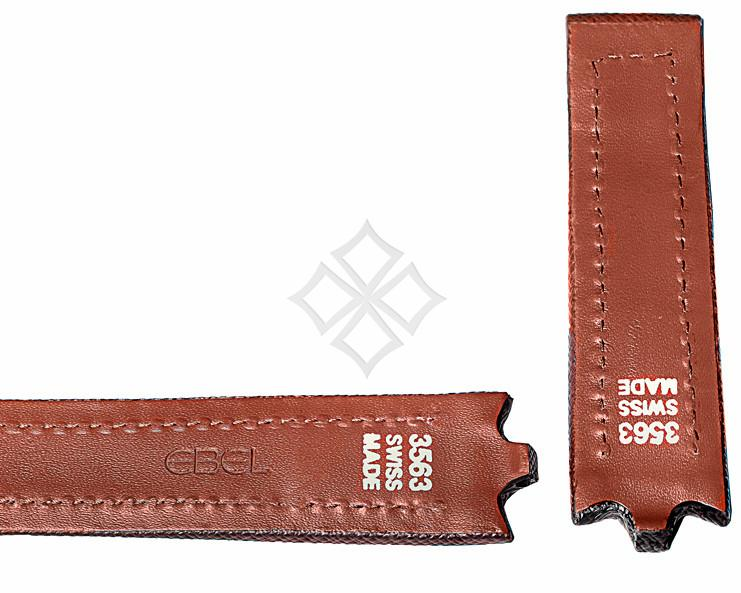 22mm brown calf skin strap for Ebel Sportwave - 3563 Swiss Made - pins and tubes attachements - EB907