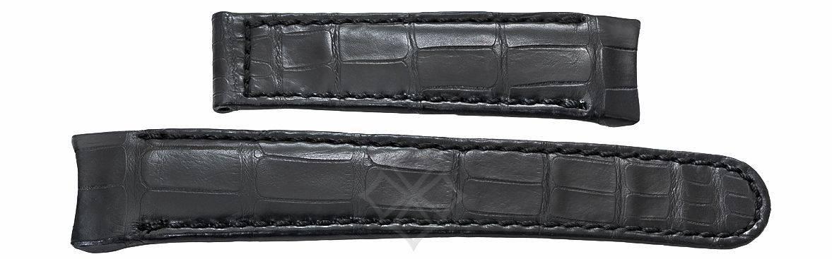 23mm black crocodile band for Ebel Classic Hexagon - EB268