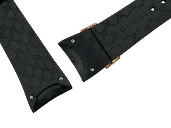26mm Genuine black rubber watch band Gucci pattern design