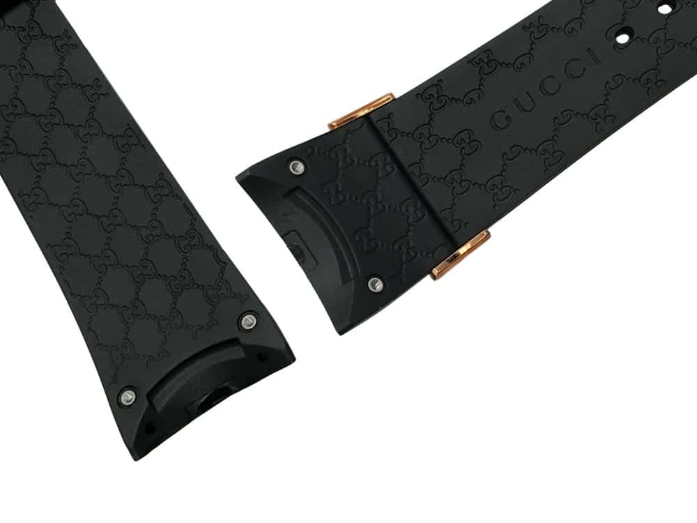 26mm Genuine black rubber watch band Gucci pattern design