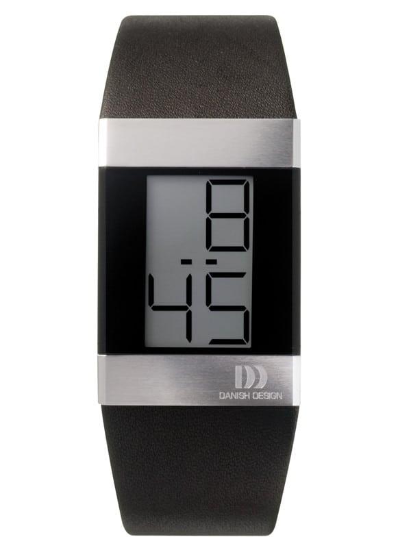 Danish Design Men's Large Gray Retro Digital Wristwatch with Leather Strap (IQ12Q641)
