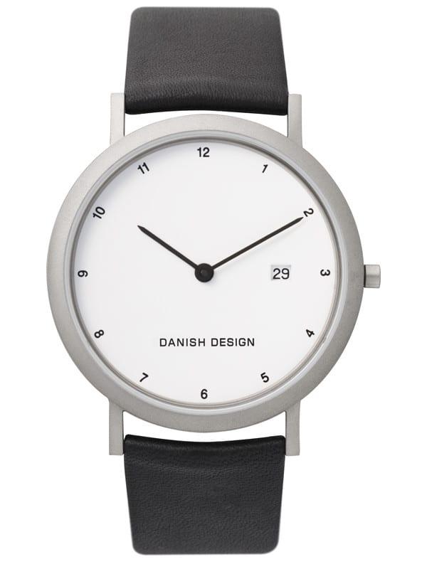 Danish Design Men's Minimal White-Dial Titanium Wristwatch with Leather Strap (IQ12Q881)