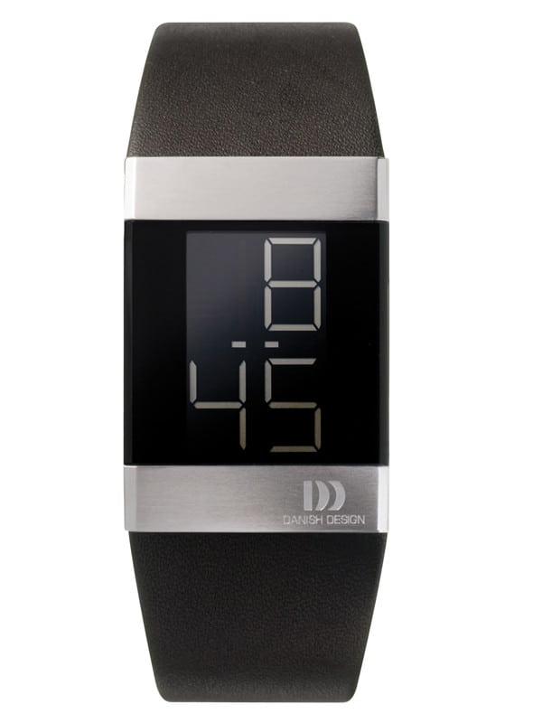 Danish Design Men's Large Black Retro Digital Wristwatch with Leather Strap (IQ13Q641)
