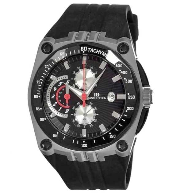Danish Design Men's Black-Dial Stainless Steel Chronograph With Waterproof Rubber Strap (IQ13Q739)