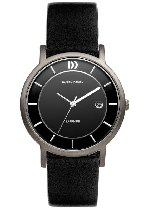 Danish Design Men's Sapphire Black-Dial Titanium Wristwatch with Leather Strap (IQ13Q858)