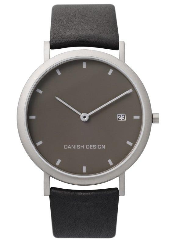 Danish Design Men's Minimal Gray-Dial Titanium Wristwatch with Leather Strap (IQ13Q881)