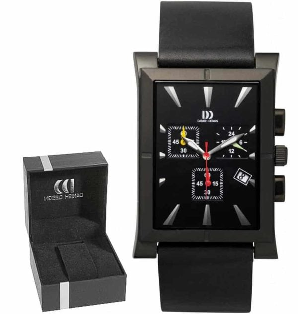 Danish Design Men's Large Black-Dial Rectangular Stainless Steel Chronograph With Leather Strap (IQ14Q755)