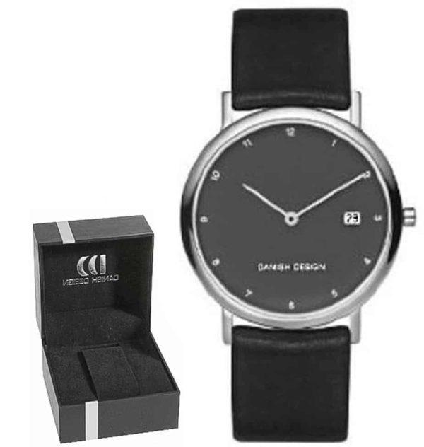 Danish Design Men's Small Font Gray-Dial Titanium Wristwatch With Leather Strap (IQ16Q272)