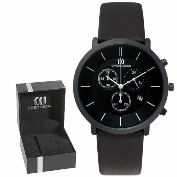 Danish Design Men's Sapphire Crystal Black Titanium Chronograph With Leather Strap (IQ16Q772)