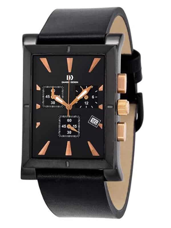 Danish Design Men's Black-Dial Stainless Steel Chronograph with Leather Strap (IQ17Q755)