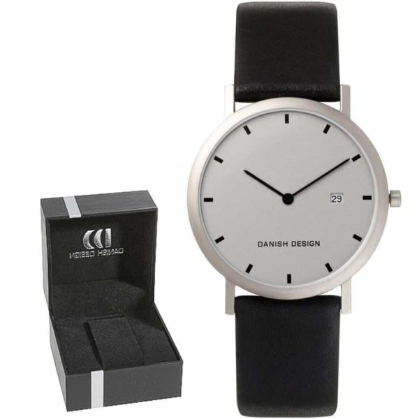 Danish Design Men's Small Font Light-Gray-Dial Titanium Wristwatch With Leather Strap (IQ19Q272)