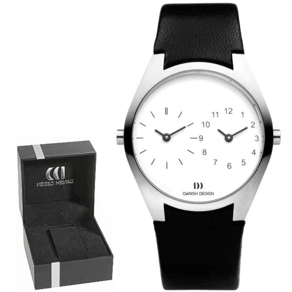 Danish Design Men's Sapphire Crystal White-Face Dual-Dial Stainless Steel Designer Wristwatch by Tirtsah (IQ22Q890)