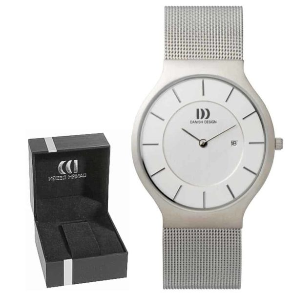 Danish Design Men's Gray-Dial Stainless Steel Wristwatch with Mesh Strap (IQ62Q732)