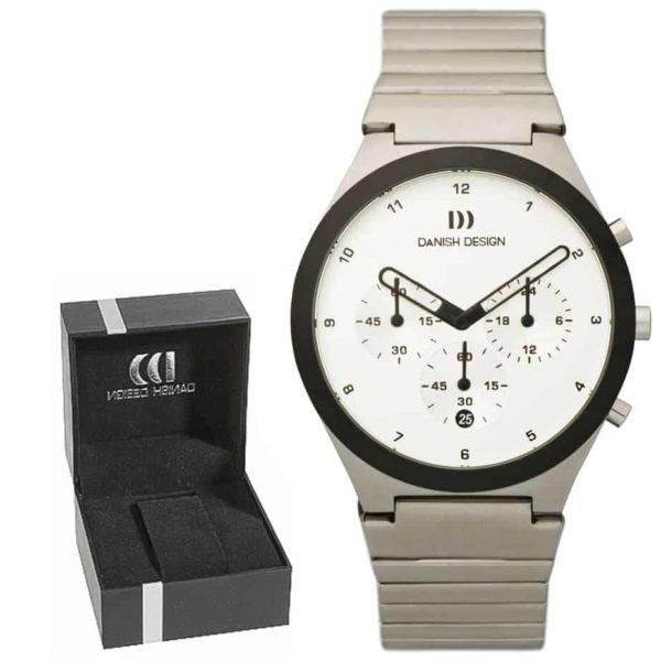 Danish Design Men's Sapphire White-Dial Stainless Steel Anna Gotha Chronograph (IQ62Q885)