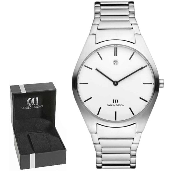 Danish Design Men's Sapphire White-Dial Stainless Steel Case and Bracelet Designer Wristwatch by Tirtsah (IQ62Q890)