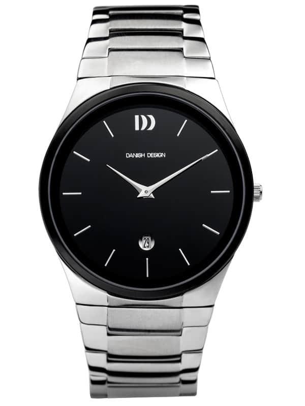 Danish Design Men's Black-Dial Stainless Steel Wristwatch with Herringbone Bracelet (IQ63Q880)