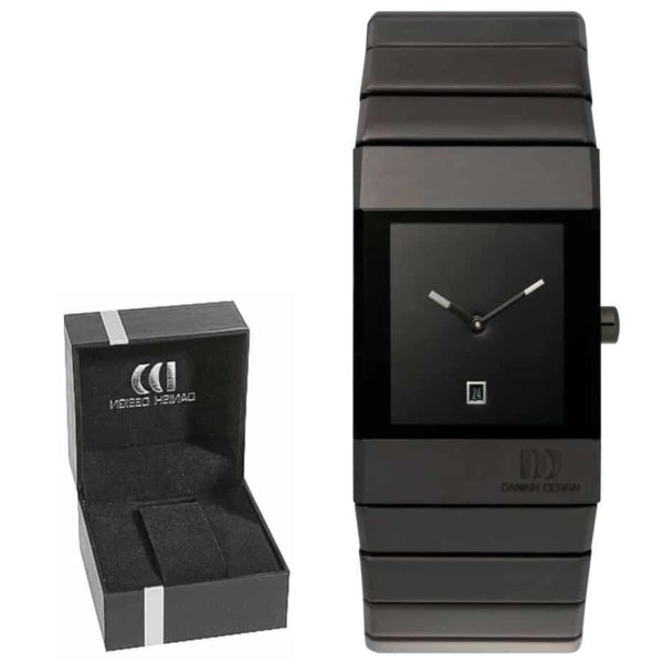 Danish Design Men's Black Rectangular Stainless Steel Wristwatch With Black Steel Bracelet (IQ64Q767)
