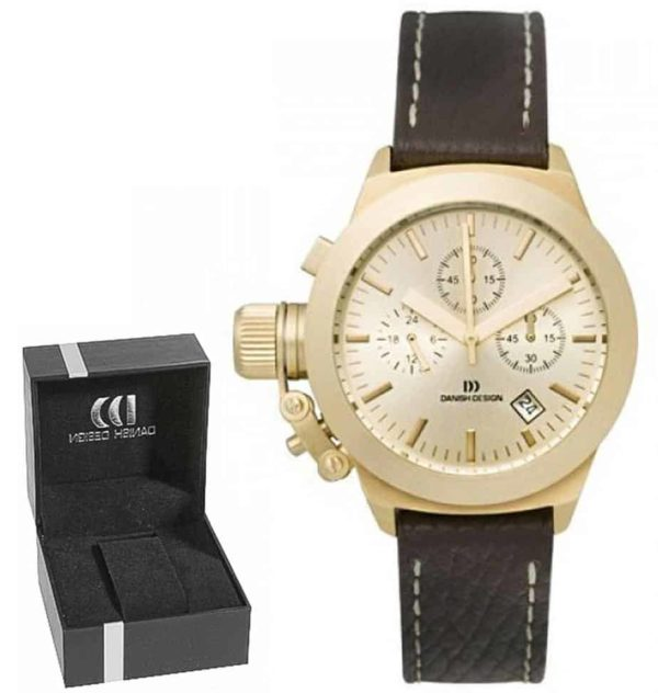 Danish Design Women's Gold-Tone Case and Dial Stainless Steel Chronograph With Brown Leather Stitched Strap (IV11Q712)