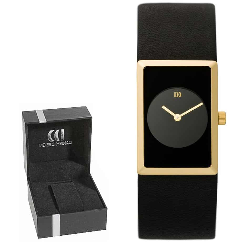 Danish Design Women's Rectangular Black-Dial Gold-Tone Stainless Steel Wristwatch With Leather Strap (IV11Q867)