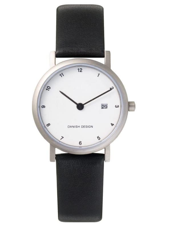 Danish Design Women's Minimal Micro White-Dial Titanium Wristwatch with Leather Strap (IV12Q272)
