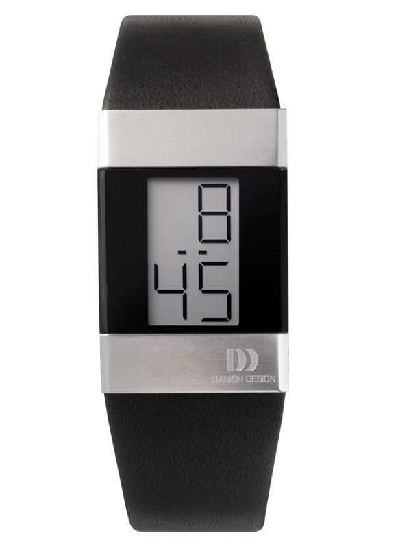 Danish Design Women's Small Gray Retro Digital Wristwatch with Leather Strap  (IV12Q641)
