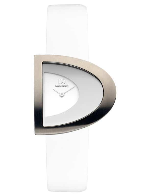 Danish Design Women's D-Curve White-Dial Titanium Wristwatch with White Leather Strap (IV12Q842)