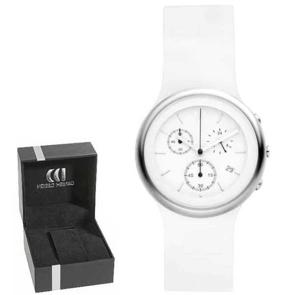 Danish Design Women's White-Dial Stainless Steel Chronograph With White Leather Strap (IV12Q892)