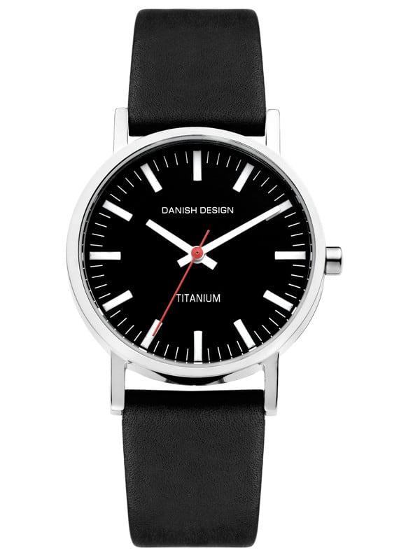 Danish Design Women's Black-Dial Titanium Wristwatch with Leather Strap (IV13Q199)
