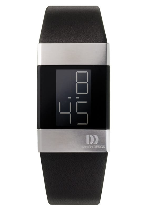 Danish Design Women's Small Black Retro Digital Wristwatch with Leather Strap (IV13Q641)