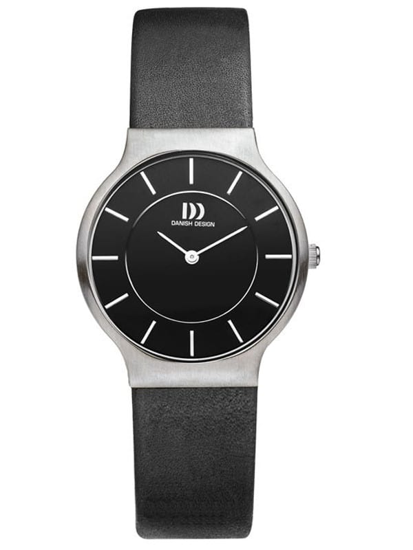 Danish Design Women's Black-Dial Stainless Steel Wristwatch with Leather Strap (IV13Q732)