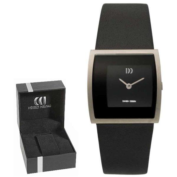 Danish Design Women's Cubic Black-Dial Titanium Wristwatch With Leather Strap (IV13Q835)