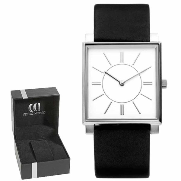 Danish Design Women's Square White-Dial Stainless Steel Wristwatch With Black Leather Strap (IV13Q891)