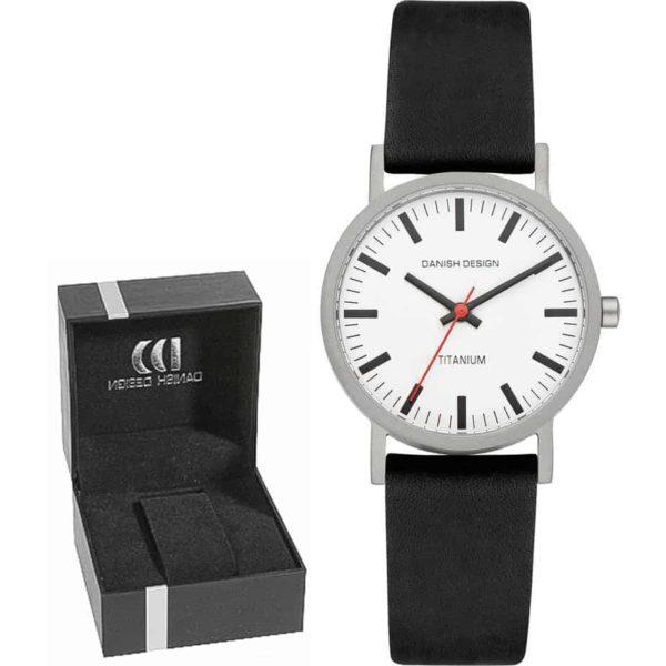 Danish Design Women's Stylish White-Dial Titanium Wristwatch With Leather Strap (IV14Q199)