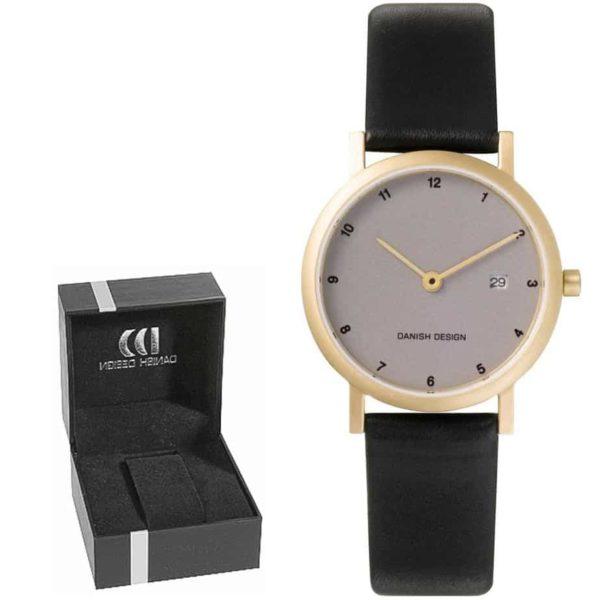 Danish Design Women's Gold-Tone Light-Gray-Dial Titanium Wristwatch With Leather Strap (IV15Q272)