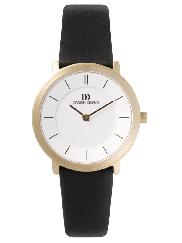 Danish Design Women's Sapphire White-Dial Titanium Wristwatch with Leather Strap (IV15Q585)