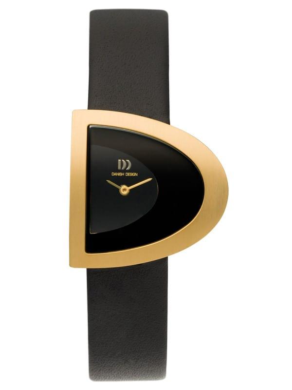 Danish Design Women's D-Curve Black-Dial Titanium Wristwatch with Black Leather Strap (IV15Q842)