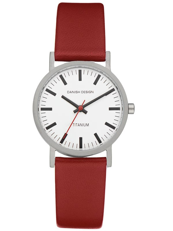Danish Design Women's White-Dial Titanium Wristwatch with Red Strap (IV19Q199)