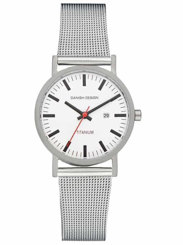 Danish Design Women's White-Dial Titanium Wristwatch with Mesh Strap (IV62Q199)