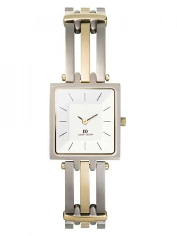 Danish Design Women's Rectangular Sapphire White-Dial Titanium Wristwatch with Bracelet (IV65Q586)