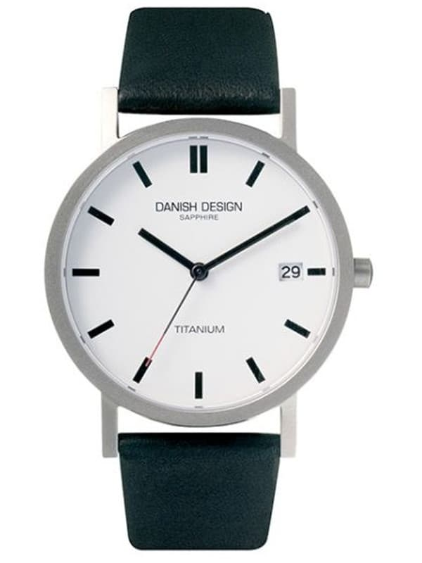 Danish Design Men's Sapphire White-Dial Titanium Wristwatch with Leather Strap  (IQ13Q672)