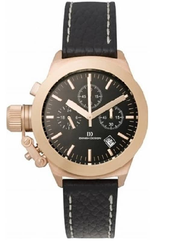 Danish DesignMen's Sapphire Black-Dial Stainless Steel Chronograph Wristwatch with Leather Strap (IV17Q712)
