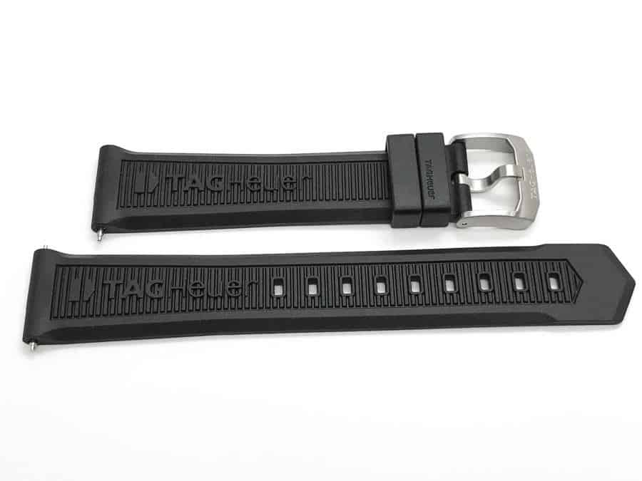 Authentic Tag Heuer black 20mm black rubber watch strap