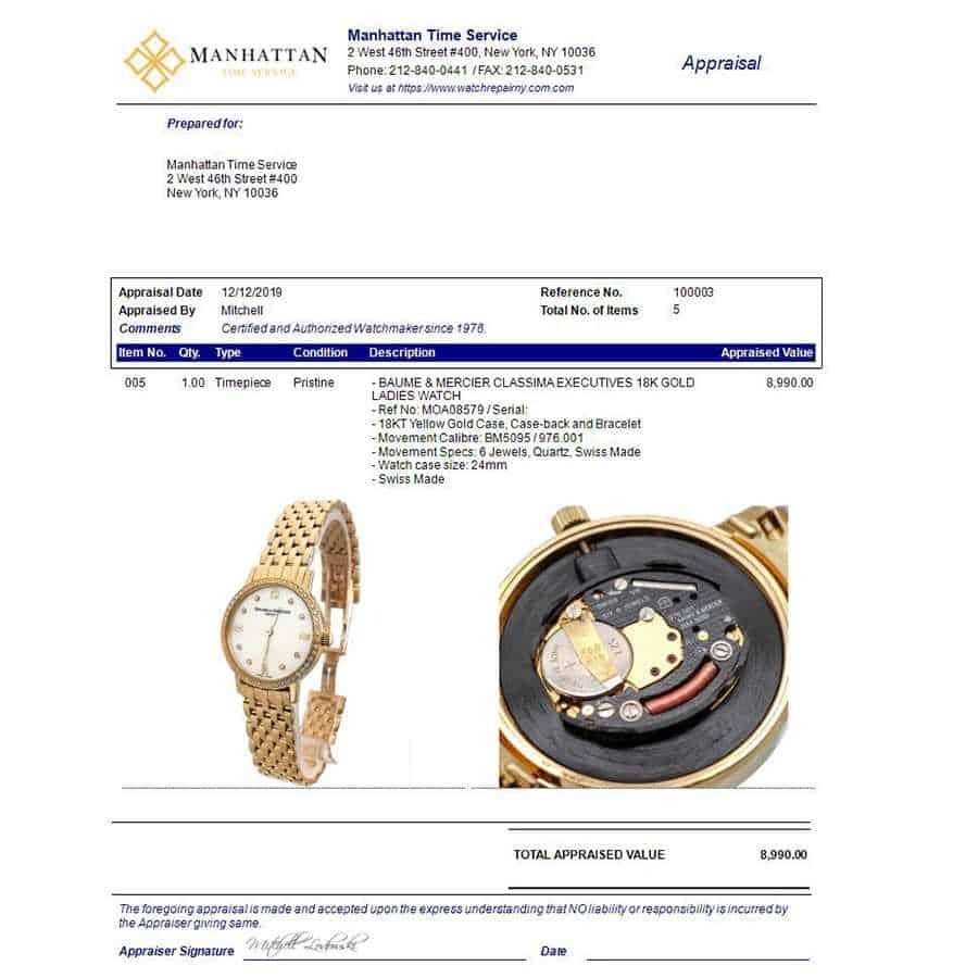 Baume Mercier Appraised value 8,995.00